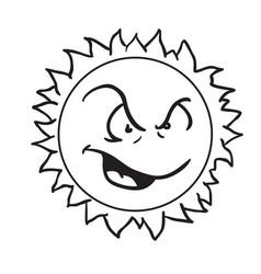 sun angry vector image