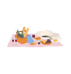 Tasty food and drinks lying in basket vector