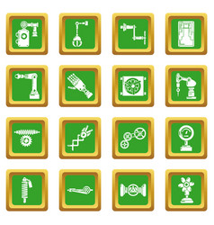Technical mechanisms icons set green square vector