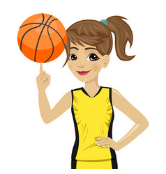 Teenager girl spinning basketball ball with finger vector