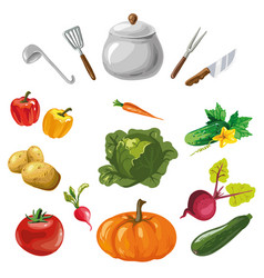 vegetables collection with kitchen dishes isolated vector image