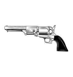 vintage revolver 0001 vector image
