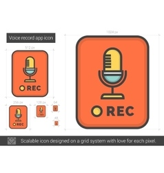 Voice record app line icon vector