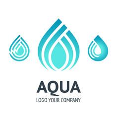 Water drop symbol blue logo template icon vector