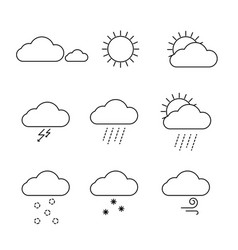 weather icons set outline clouds sun and vector image