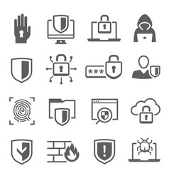 Web cyber security icon set digital safety system vector