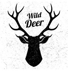 wild deer logo with grunge effect vector image