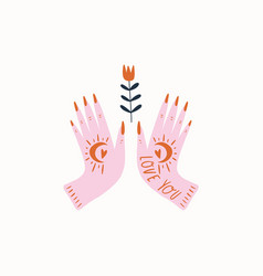 witch hands with flower in vector image