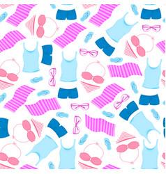 women s t-shirt swimsuit sunglasses slippers vector image