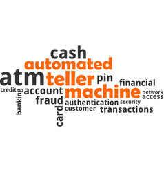 word cloud - automated teller machine vector image