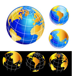 World earth globe set icon vector