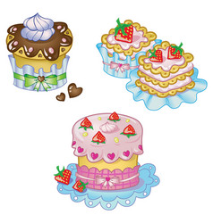 cake set in cute style vector image vector image