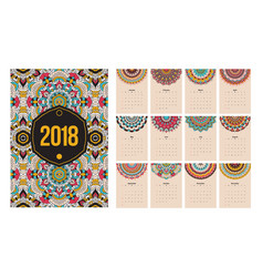 calendar 2018 year ethnic mandala vector image vector image