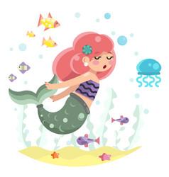 cute bodypositive mermaid girl swimming in sea vector image