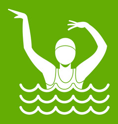 swimmer in a swimming pool icon green vector image