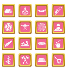 timber industry icons pink vector image