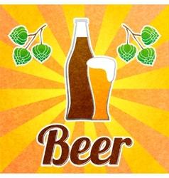 Beer bottle poster vector image vector image