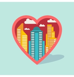 Cityscape background with buildings in shape of vector image vector image