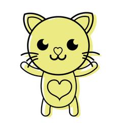 color smile cat cute feline animal vector image