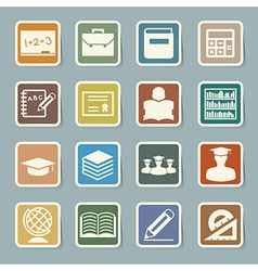 Education sticker icons set eps 10 vector image
