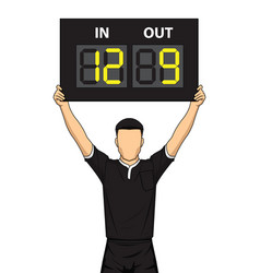 football referee shows the number display vector image vector image