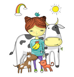 girl surrounded by her animal friends vector image vector image
