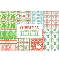 Set of traditional knitted christmas patterns vector