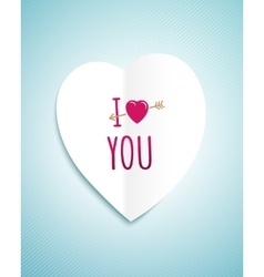 Valentines day greeting card with the white paper vector image vector image