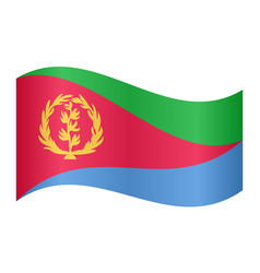 flag of eritrea waving on white background vector image