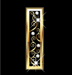 I gold letter with swirly ornaments vector image vector image