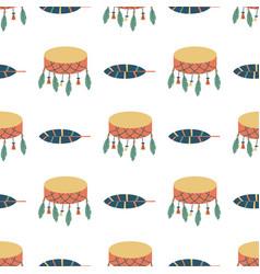 indians dream catcher drum temple ornament vector image vector image
