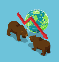Isometric bears fighting with world and falling vector