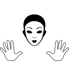Mime Mask and Hands Silhouette vector image