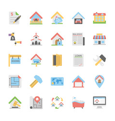real estate flat icons pack vector image