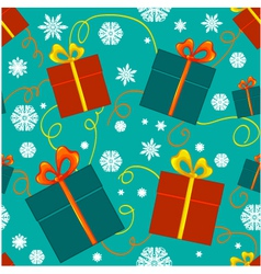Seamless pattern with christmas gifts vector image