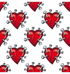Seamless pattern with hearts and hammered nails vector image vector image