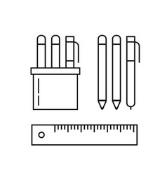 set of pens pencils ruler and marker in holder vector image