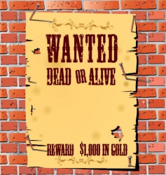 wanted on old paper background vector image vector image