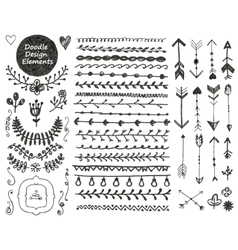 floral decor set collection of hand drawn vector image vector image