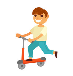Happy little boy rides kick scooter isolated vector