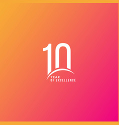 10 year excellence template design vector image
