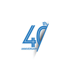 40 anniversary blue cut style isolated on white vector