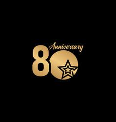 80 years anniversary celebration star gold logo vector