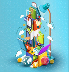 a tower of books with reading people vector image