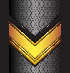 Abstract gold black line arrow on hexagon mesh vector