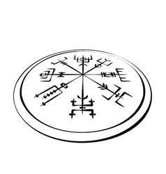 Abstract runic symbols circle in perspective vector