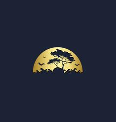 Africa jungle tree animal gold logo vector