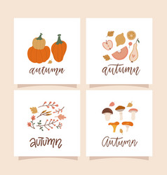 autumn mood square cards with natural vector image
