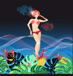 Beautiful graphics girl in a bathing suit vector