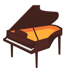 big brown piano with open top isolated vector image